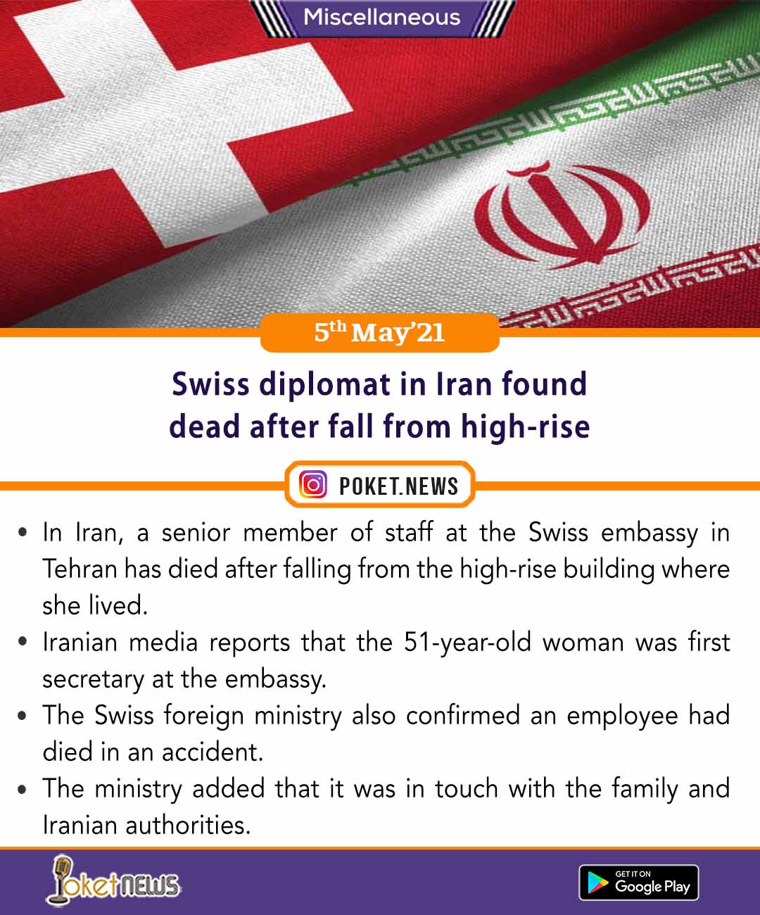 Swiss diplomat in Iran found dead after fall from high-rise