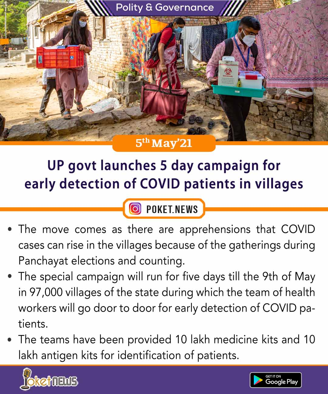 UP govt launches five- day campaign for early detection of COVID patients in villages