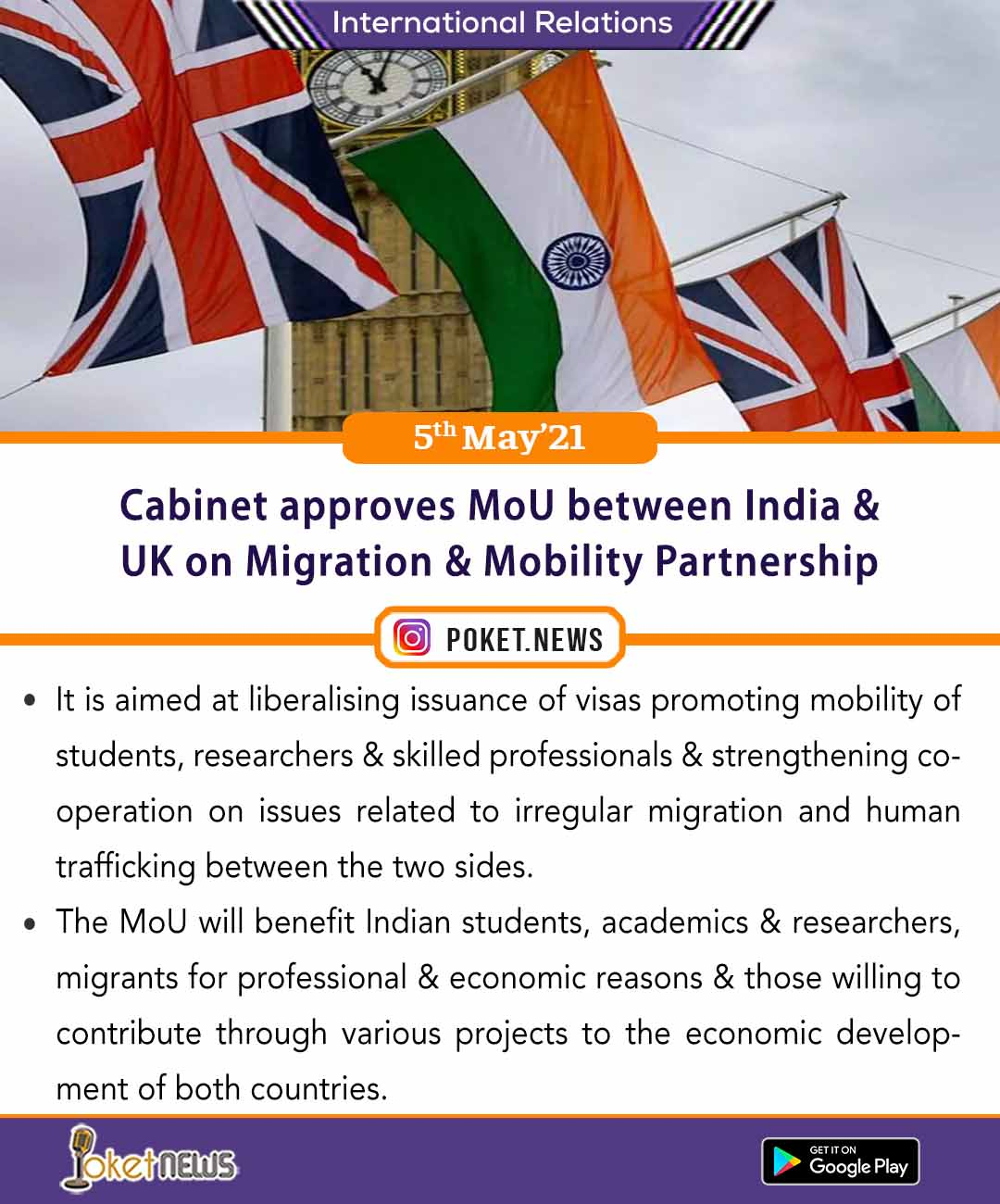 Cabinet approves MoU between India & UK on Migration & Mobility Partnership