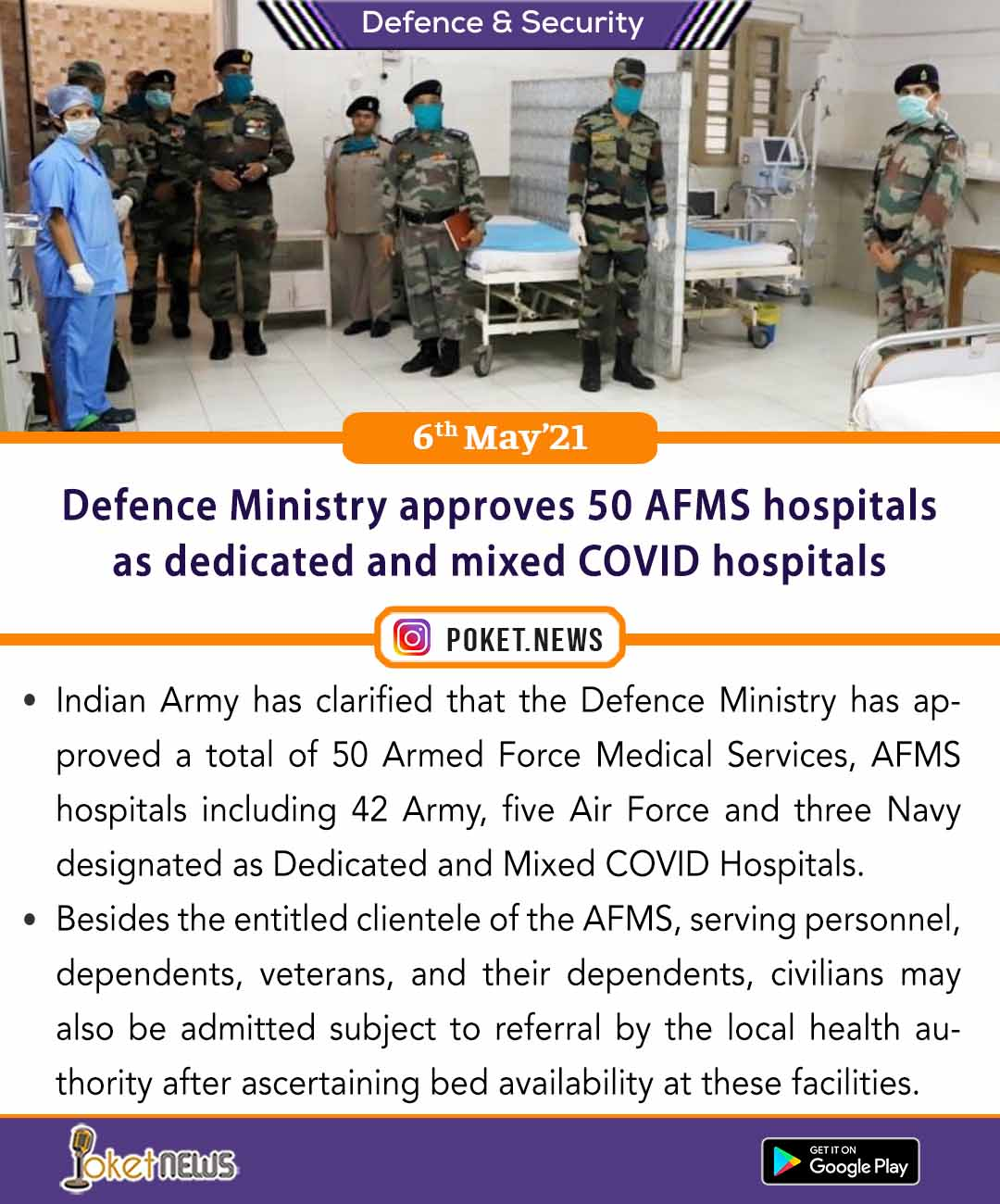 Defence Ministry approves 50 AFMS hospitals as dedicated and mixed COVID hospitals