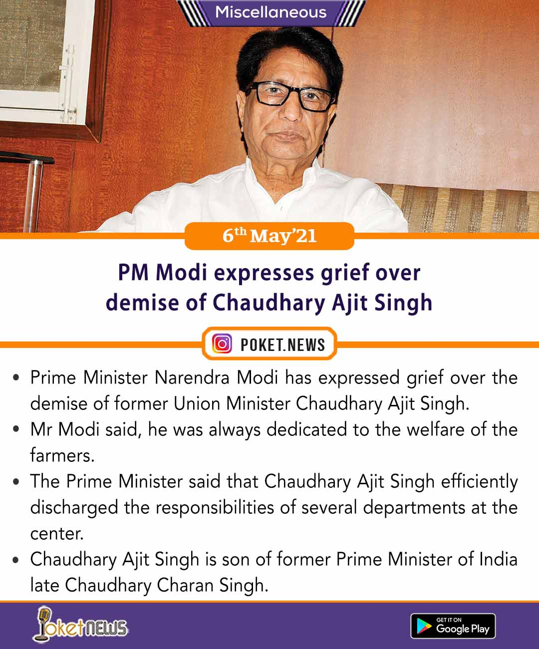 PM Modi expresses grief over demise of Chaudhary Ajit Singh