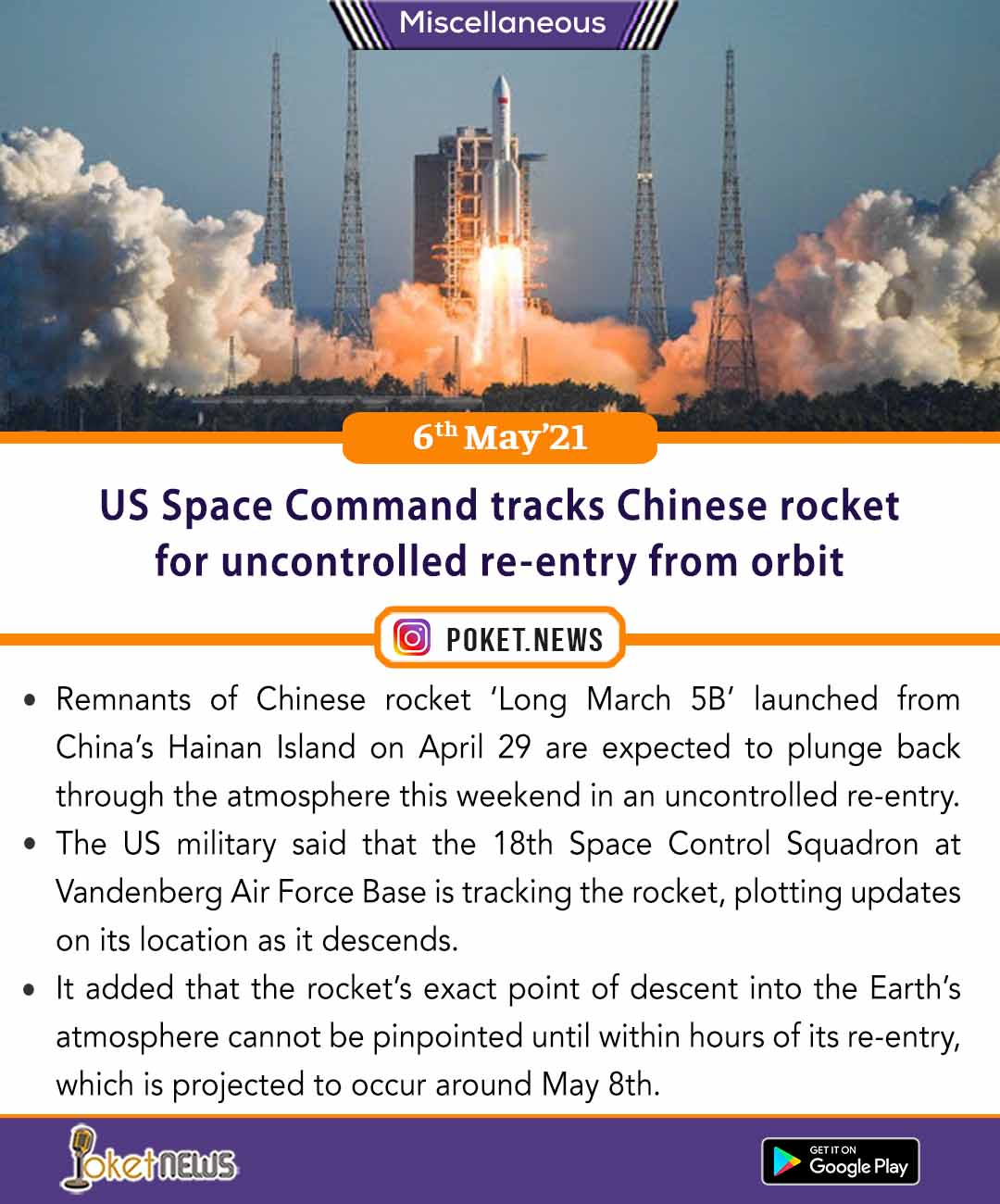 US Space Command tracks Chinese rocket for uncontrolled re-entry from orbit