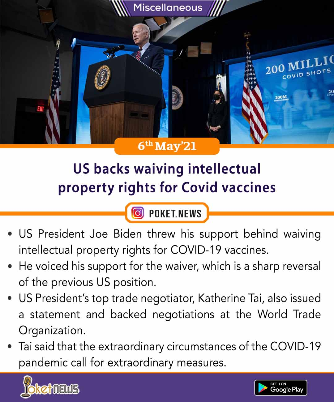 US backs waiving intellectual property rights for Covid vaccines
