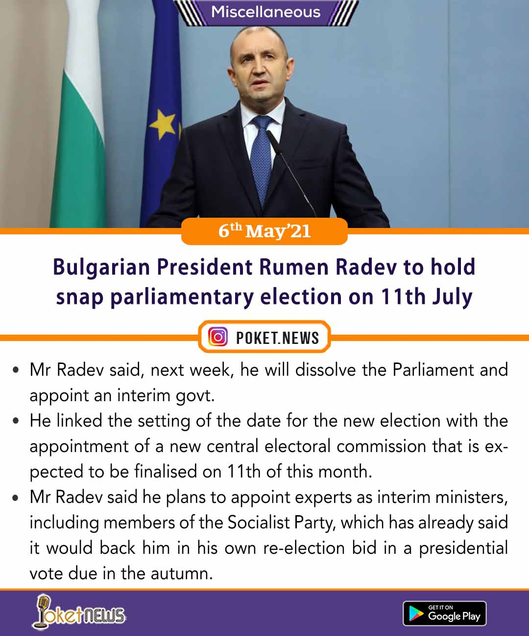 Bulgarian President Rumen Radev to hold snap parliamentary election on 11th July