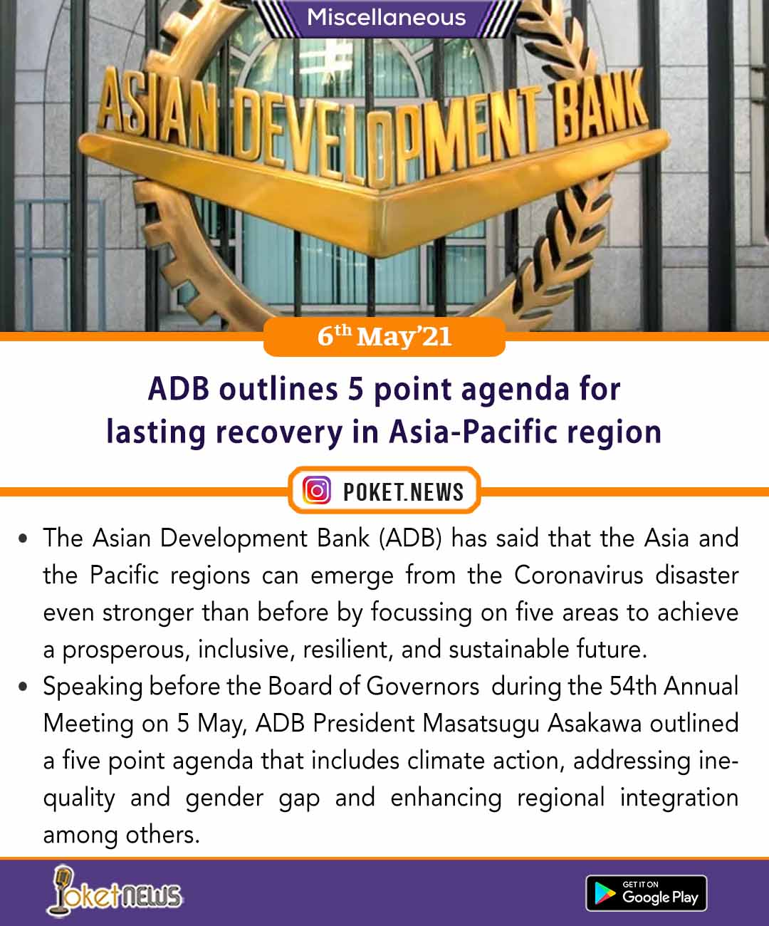 ADB outlines 5 point agenda for lasting recovery in Asia-Pacific region