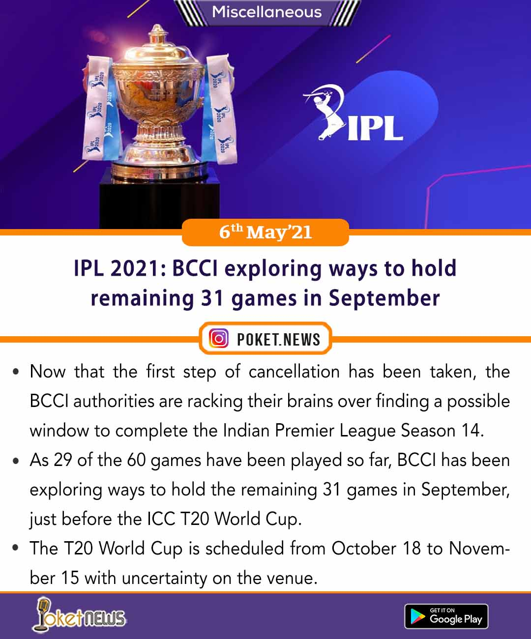 IPL 2021: BCCI exploring ways to hold remaining 31 games in September