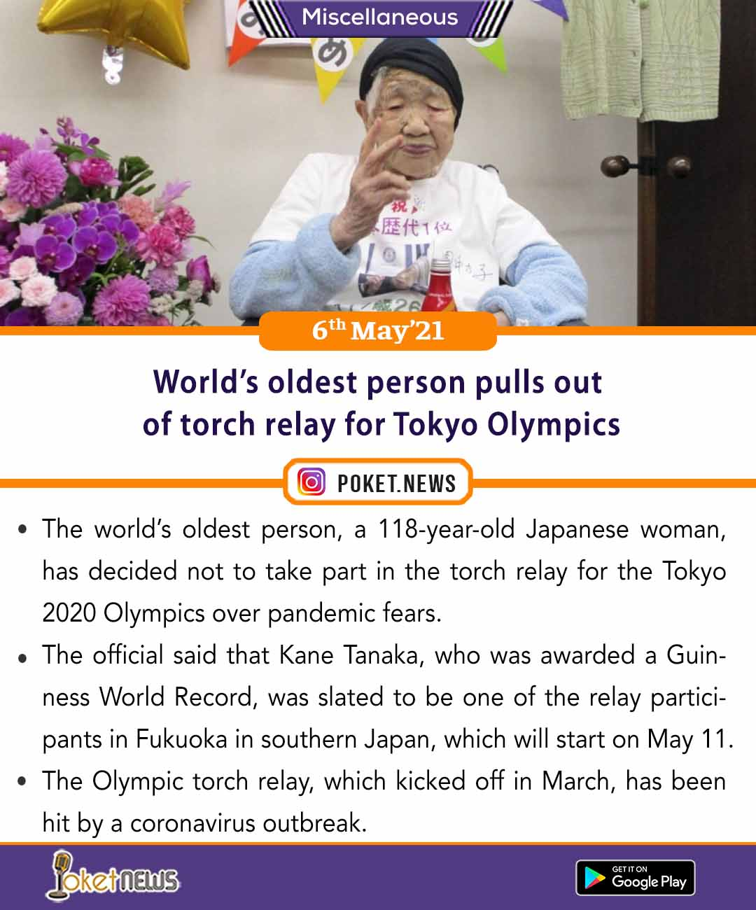 World's oldest person pulls out of torch relay for Tokyo Olympics