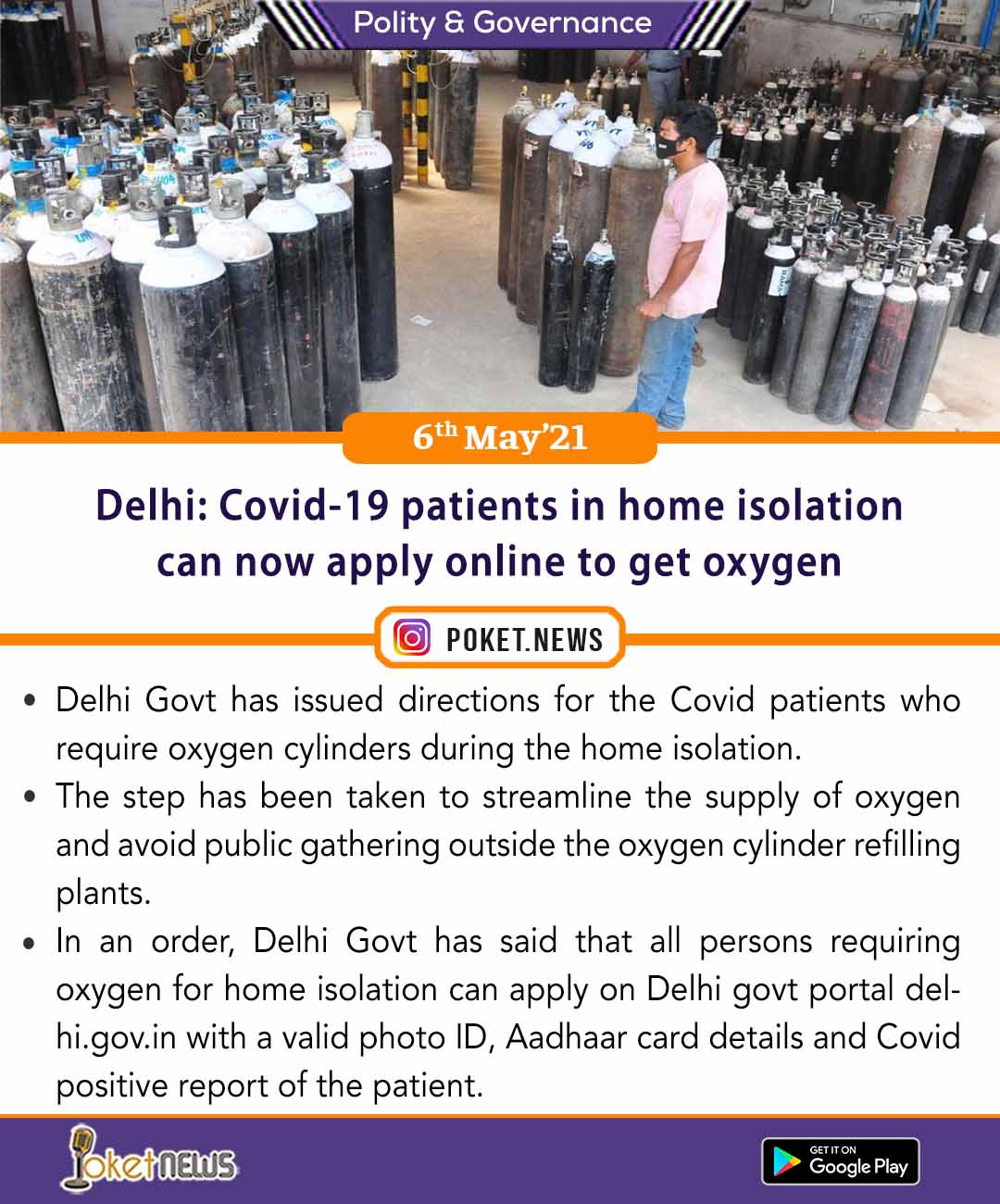 Delhi: Covid-19 patients in home isolation can now apply online to get oxygen
