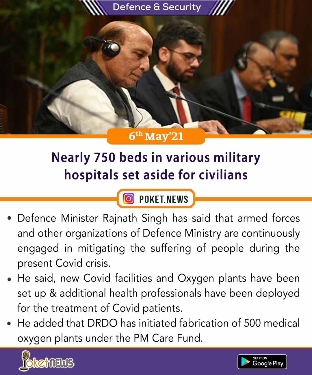 Nearly 750 beds in various military hospitals set aside for civilians