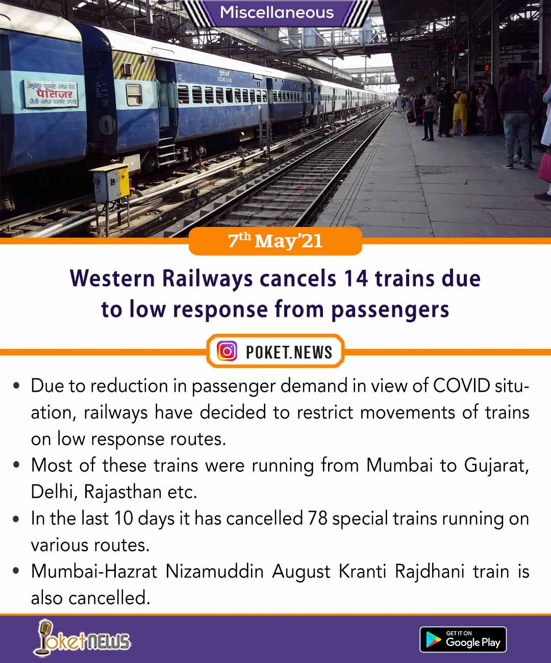 Western Railways cancels 14 trains due to low response from passengers