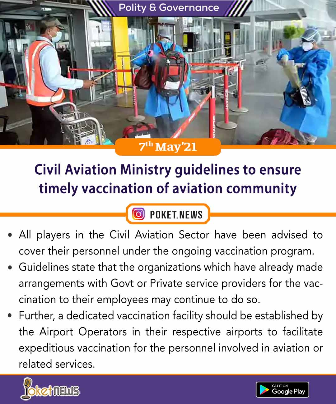 Civil Aviation Ministry guidelines to ensure timely vaccination of aviation community