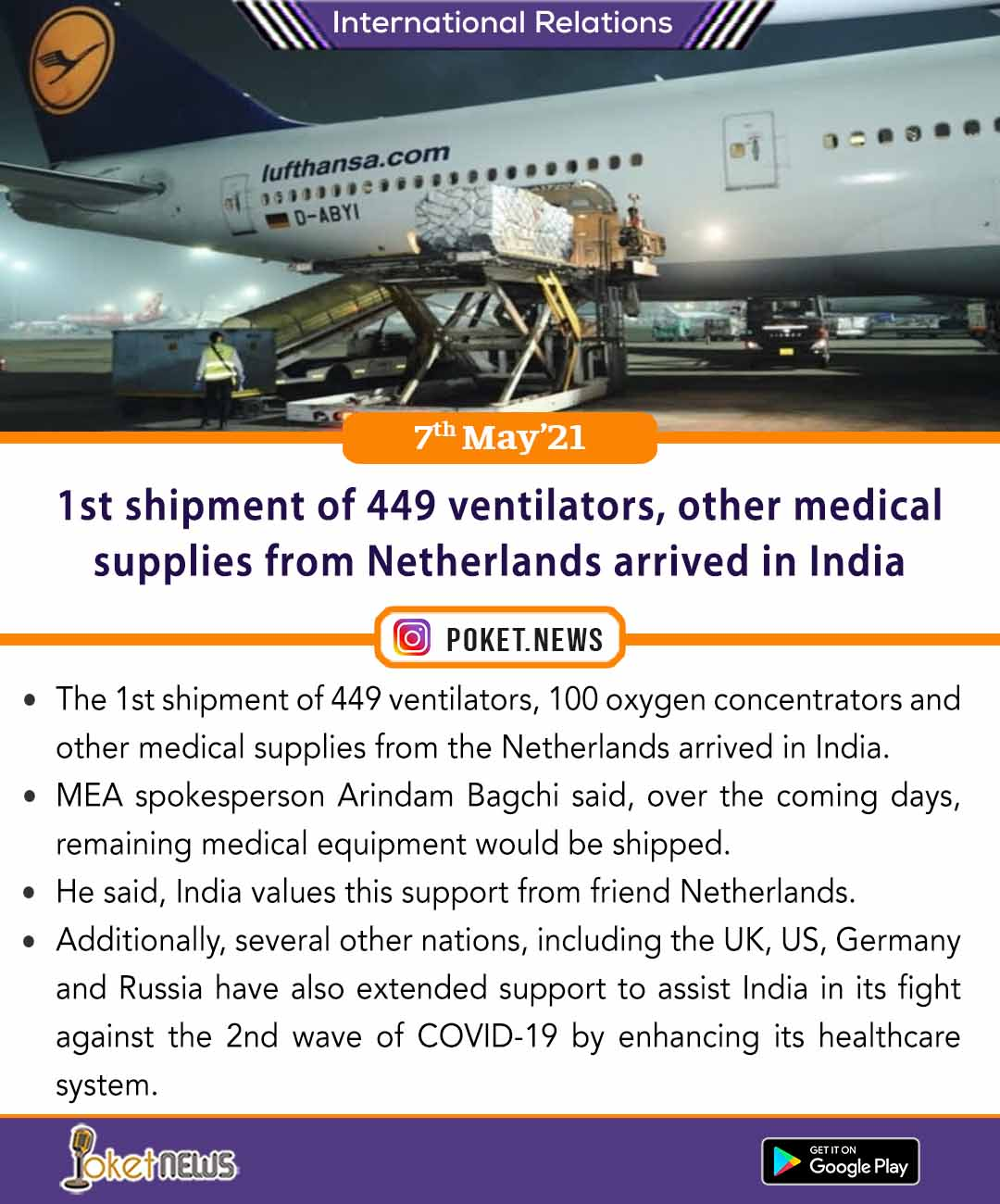 First shipment of 449 ventilators, other medical supplies from Netherlands arrived in India