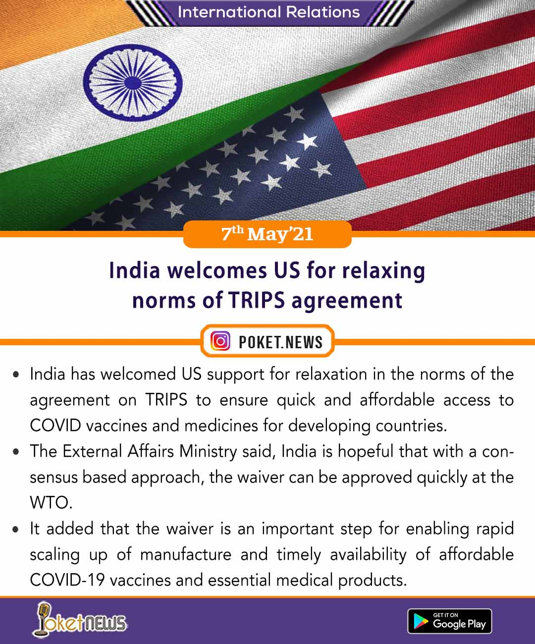 India welcomes US for relaxing norms of TRIPS agreement