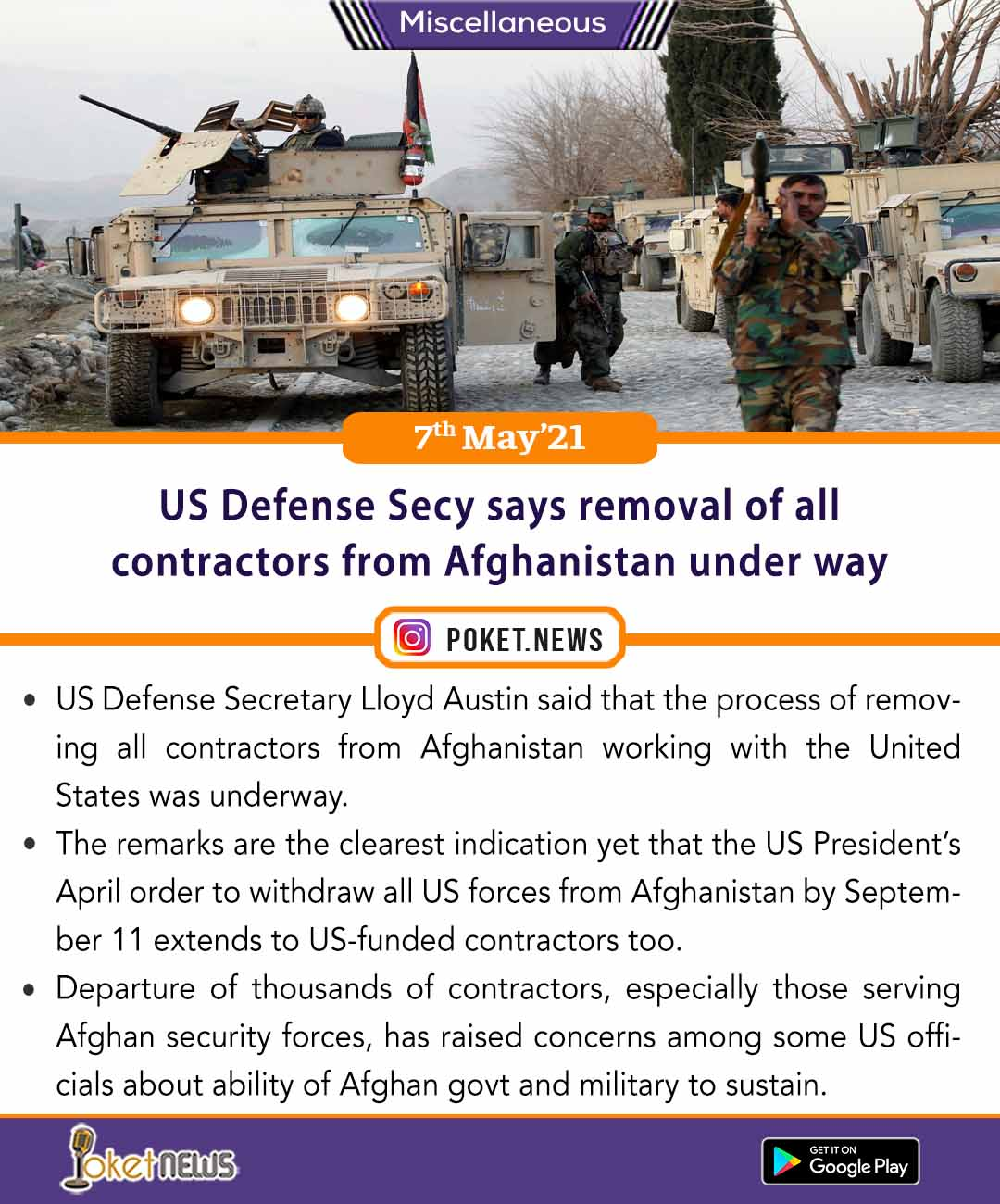US Defense Secy says removal of all contractors from Afghanistan under way