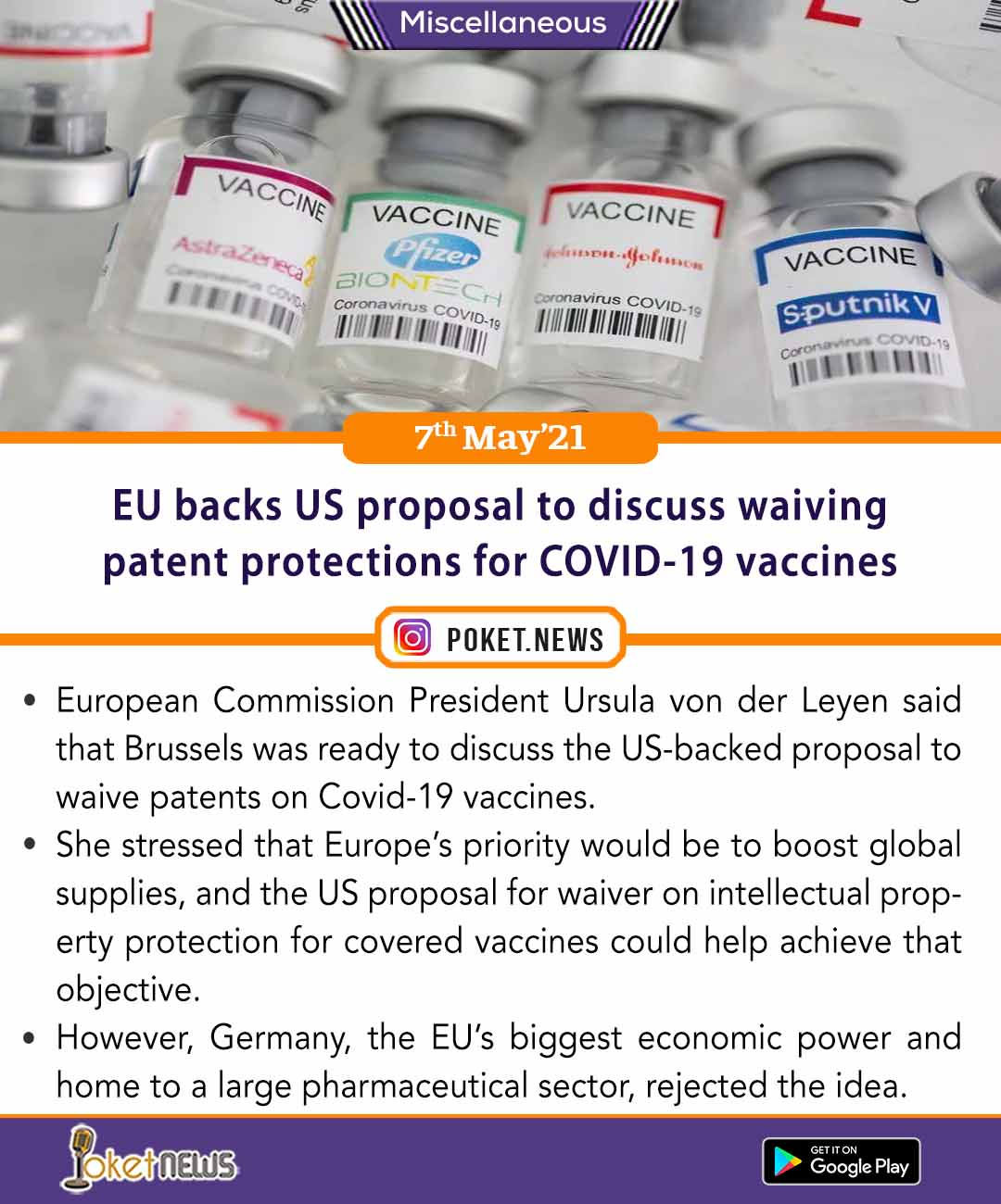 EU backs US proposal to discuss waiving patent protections for COVID-19 vaccines