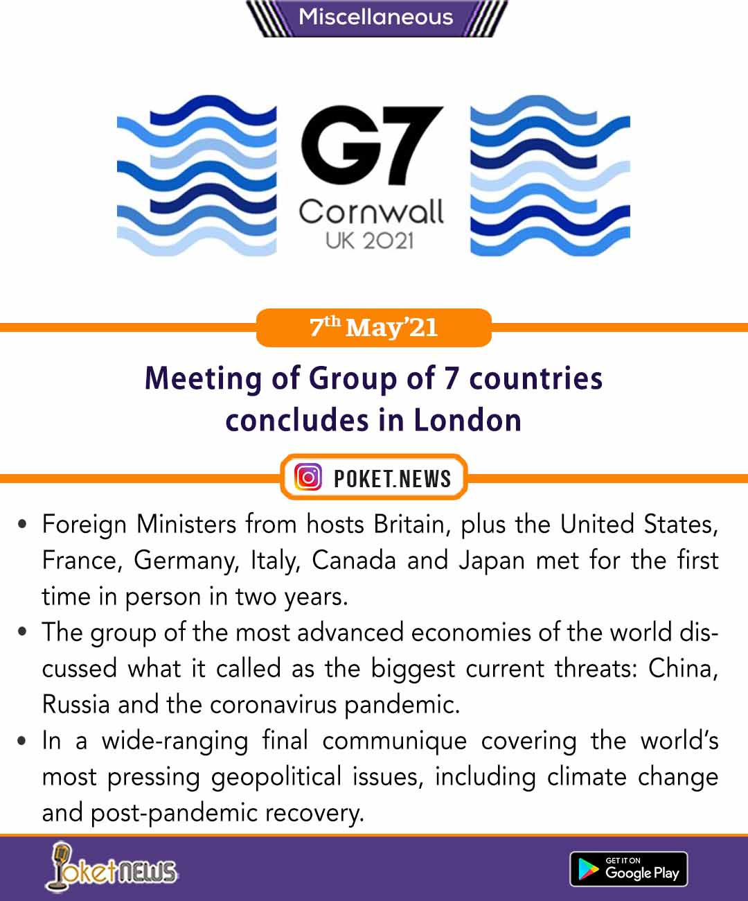 Meeting of Group of 7 countries concludes in London