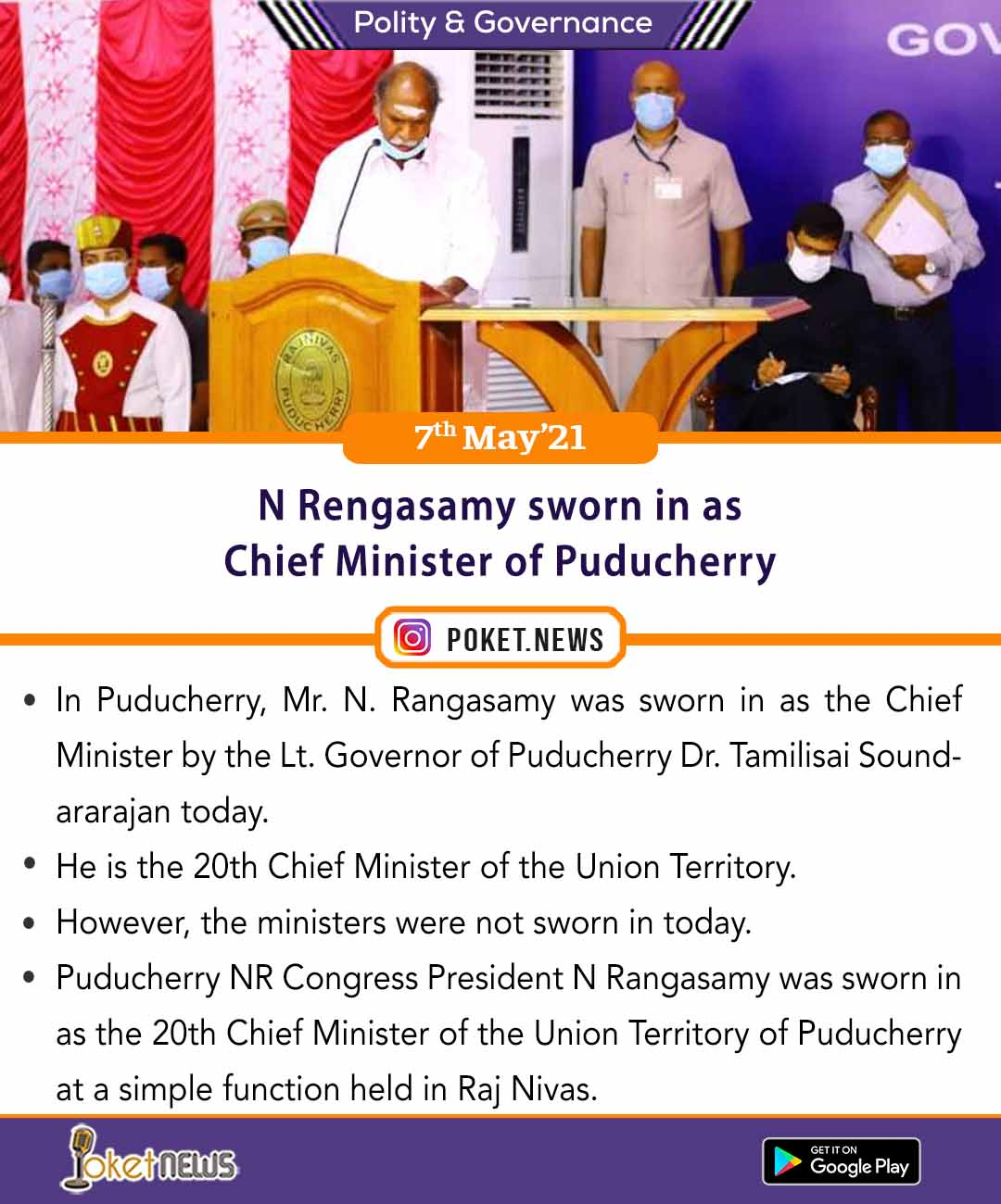 N Rengasamy sworn in as Chief Minister of Puducherry
