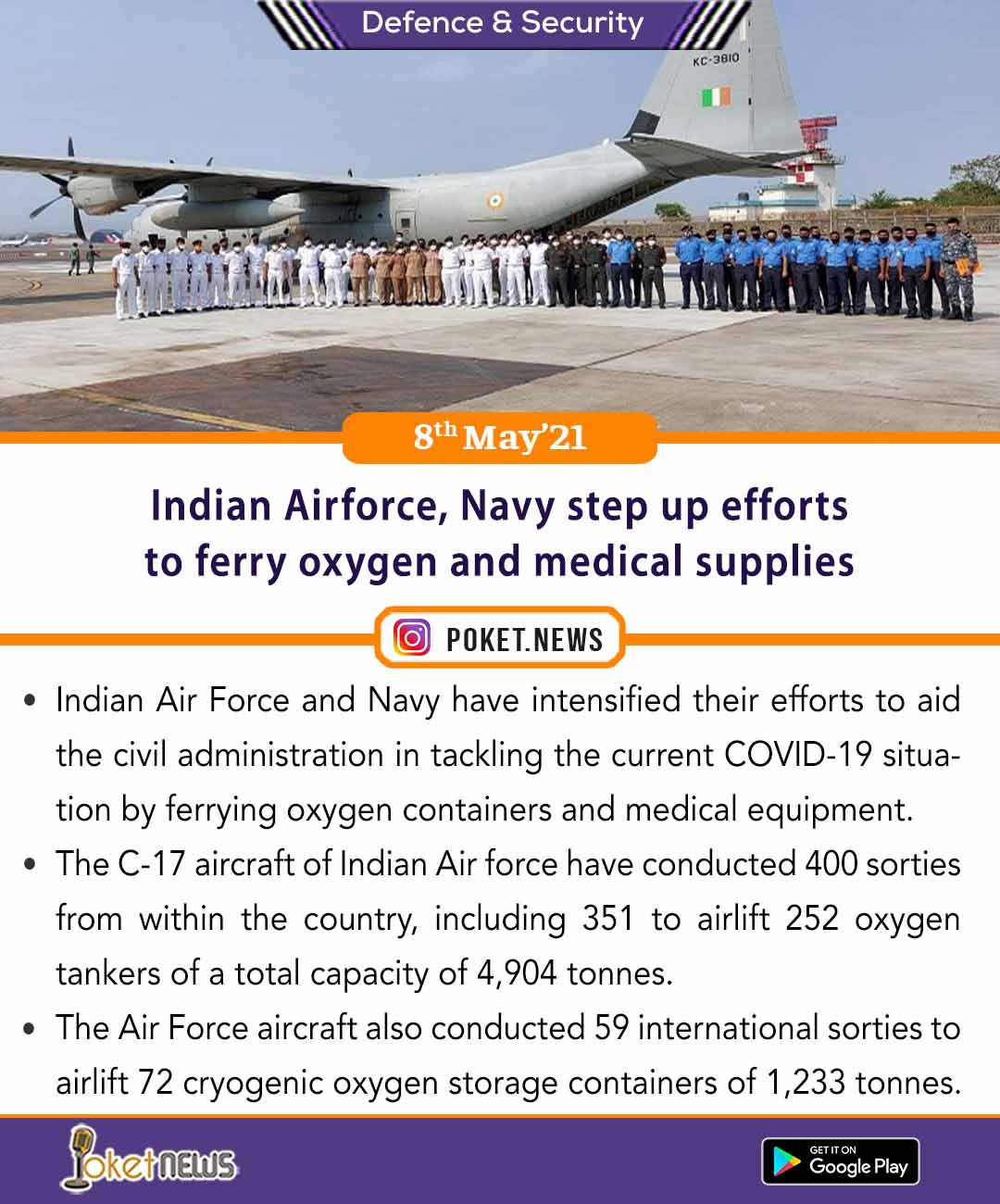 Indian Airforce, Navy step up efforts to ferry oxygen and medical supplies