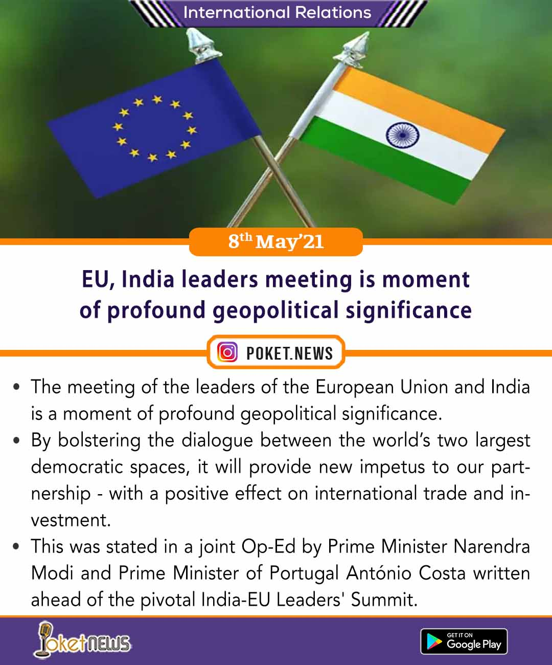 EU, India leaders meeting is moment of profound geopolitical significance