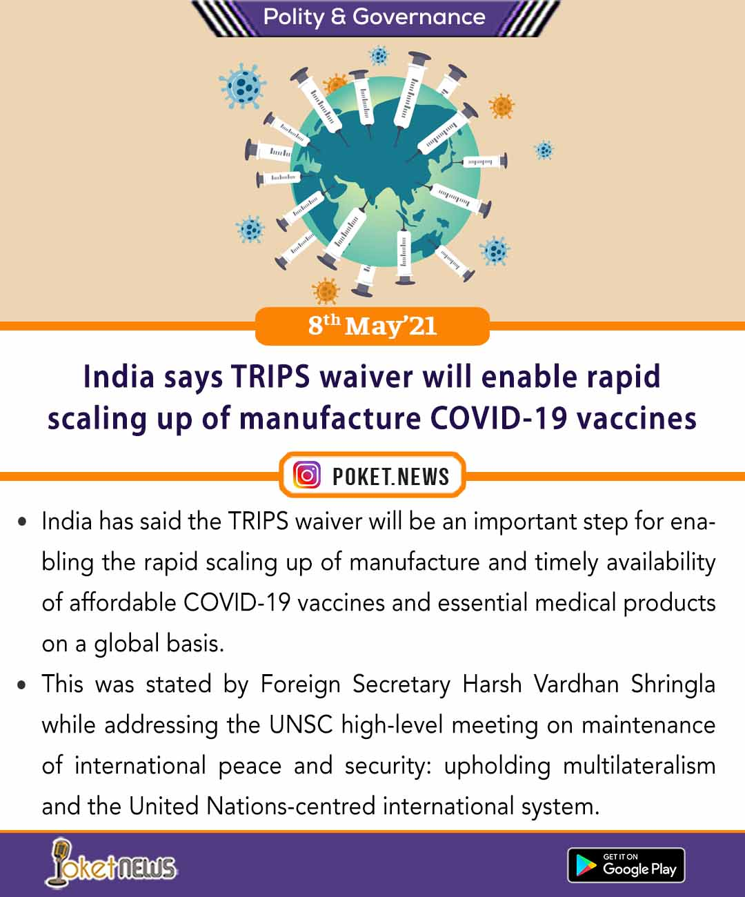 India says TRIPS waiver will enable rapid scaling up of manufacture COVID-19 vaccines
