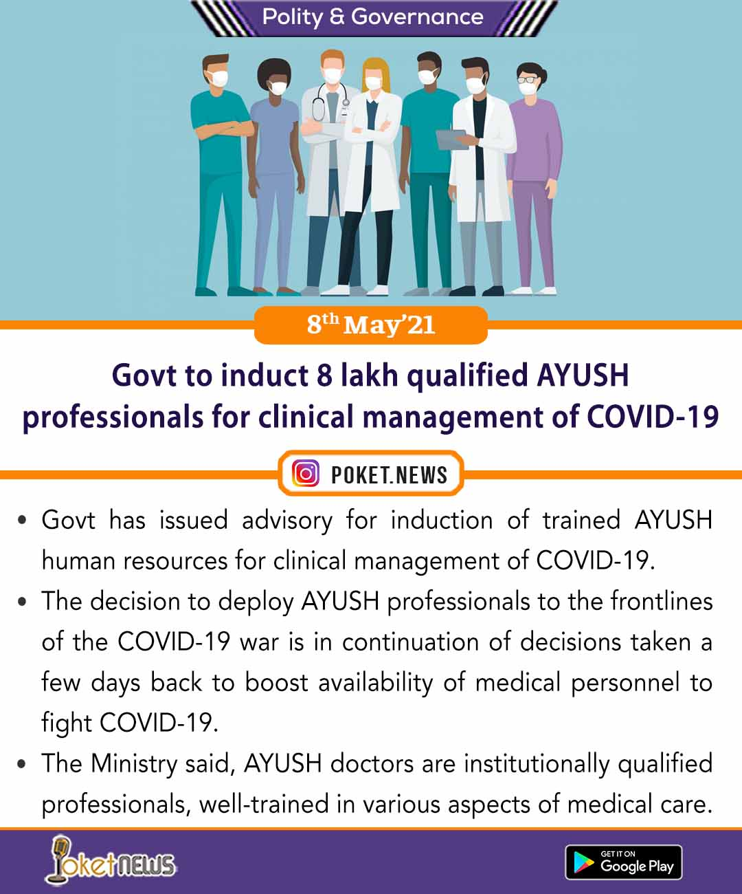 Govt to induct 8 lakh qualified AYUSH professionals for clinical management of COVID-19