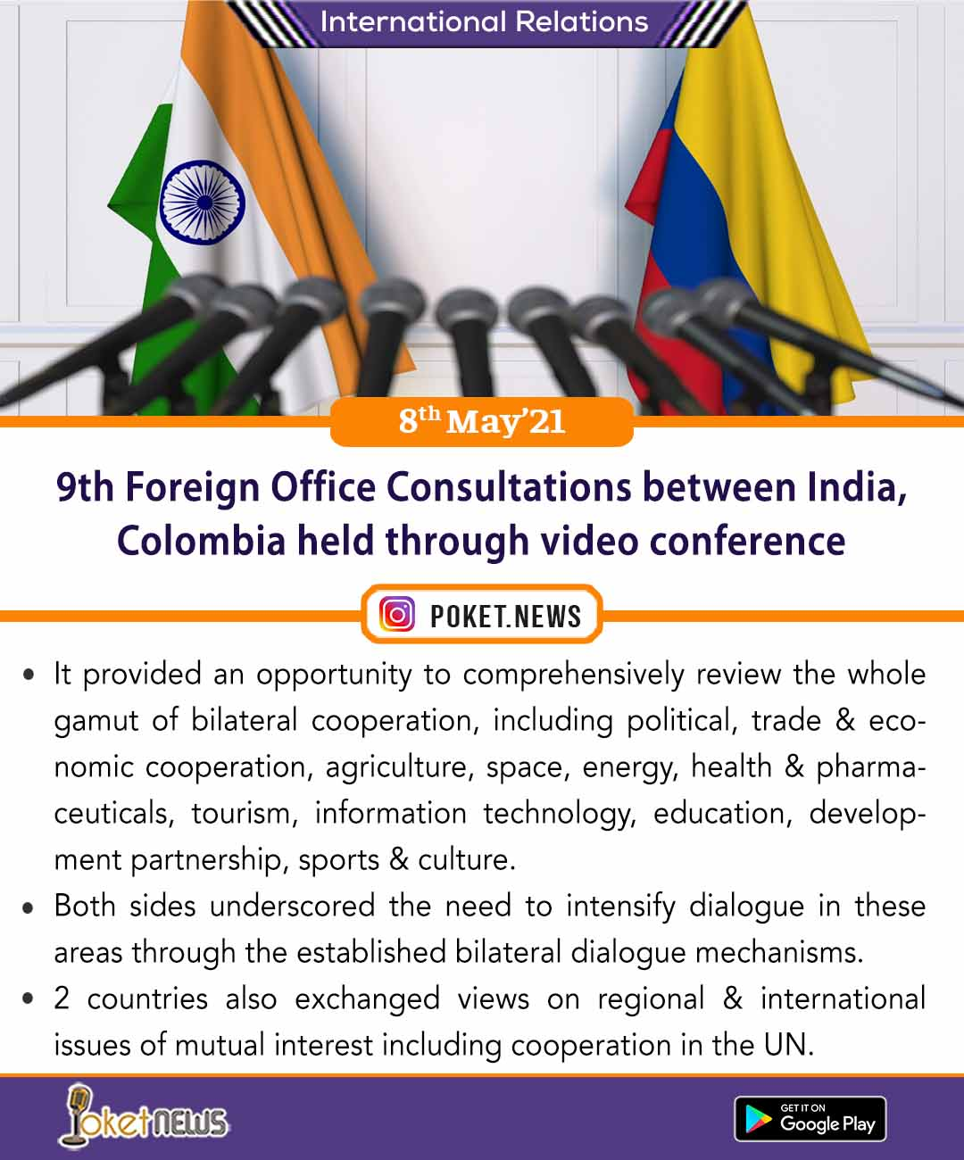 9th Foreign Office Consultations between India, Colombia held through video conference