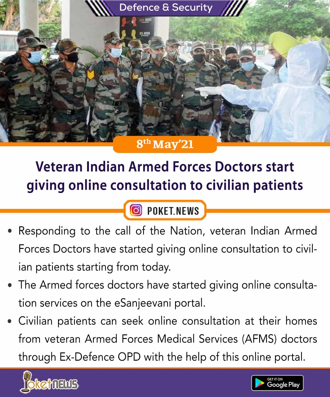 Veteran Indian Armed Forces Doctors start giving online consultation to civilian patients