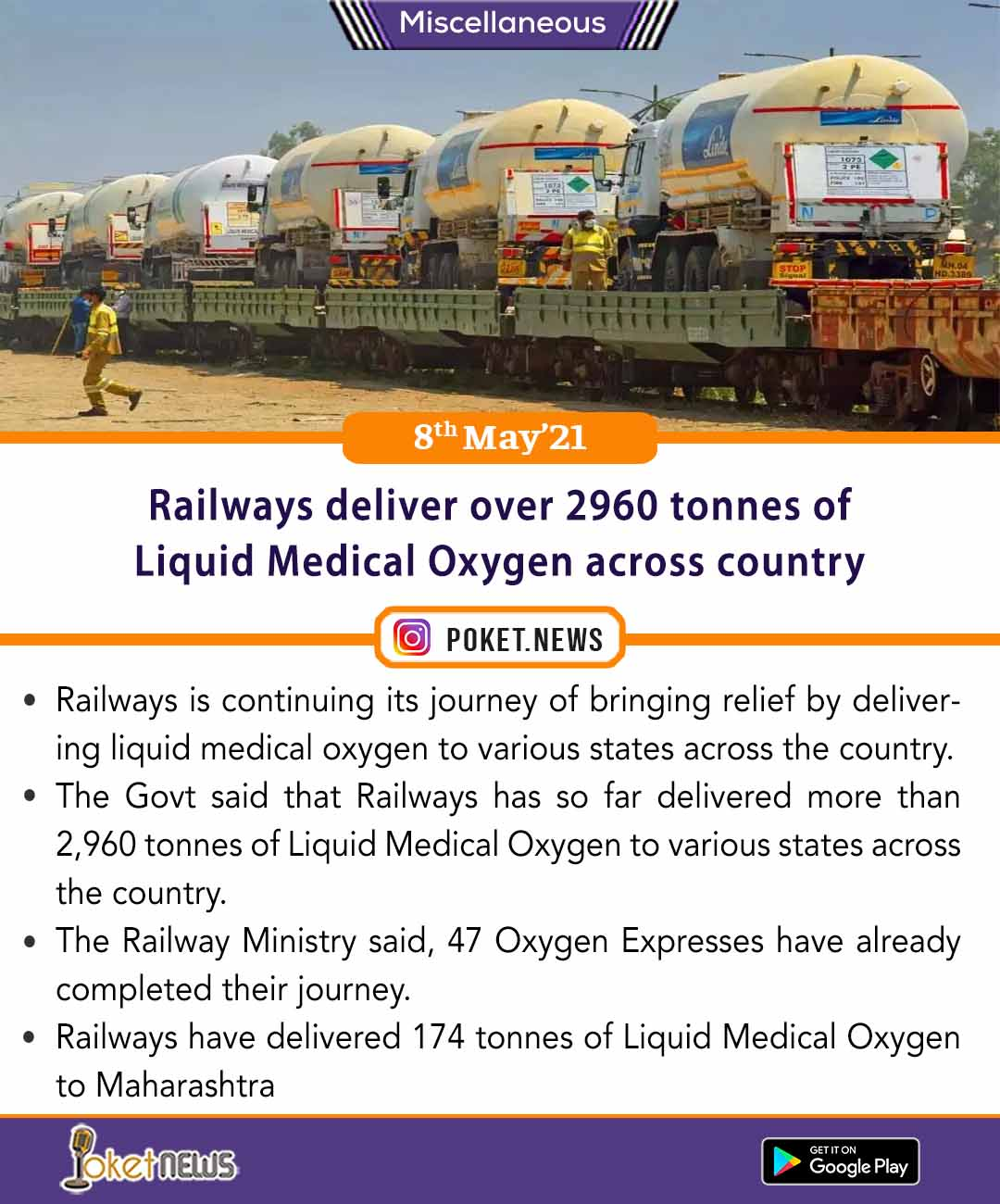 Railways deliver over 2960 tonnes of Liquid Medical Oxygen across country