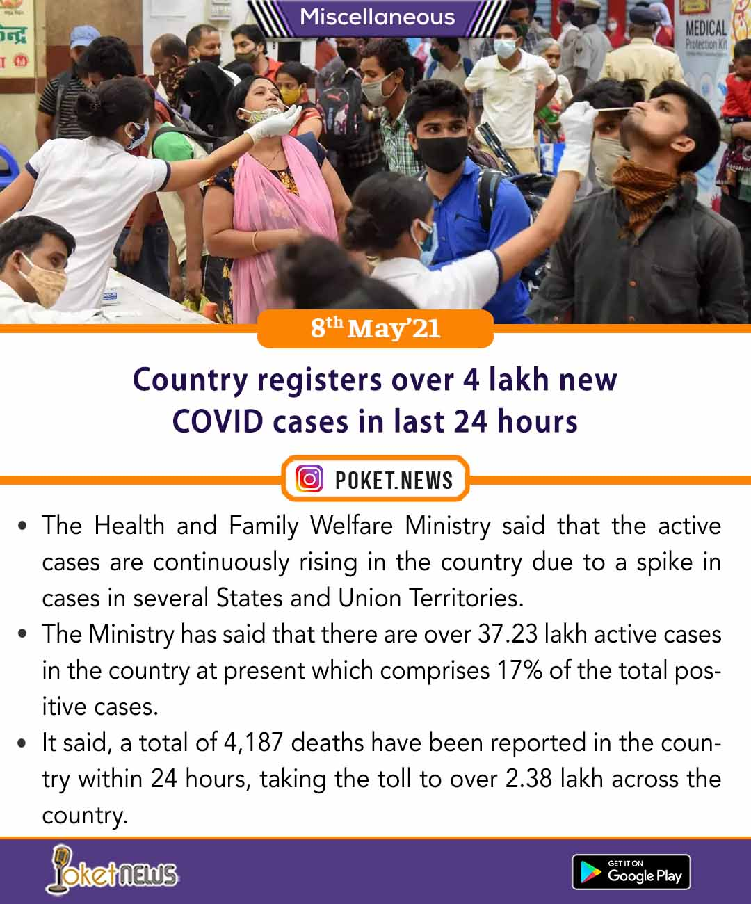 Country registers over 4 lakh new COVID cases in last 24 hours