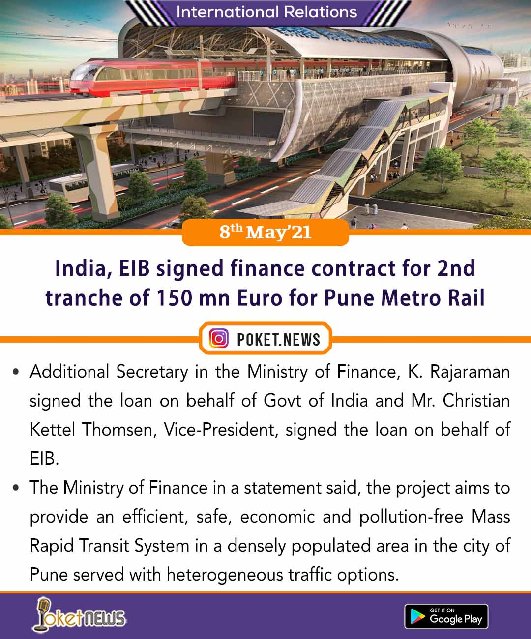 India, EIB signed finance contract for 2nd tranche of 150 mn Euro for Pune Metro Rail