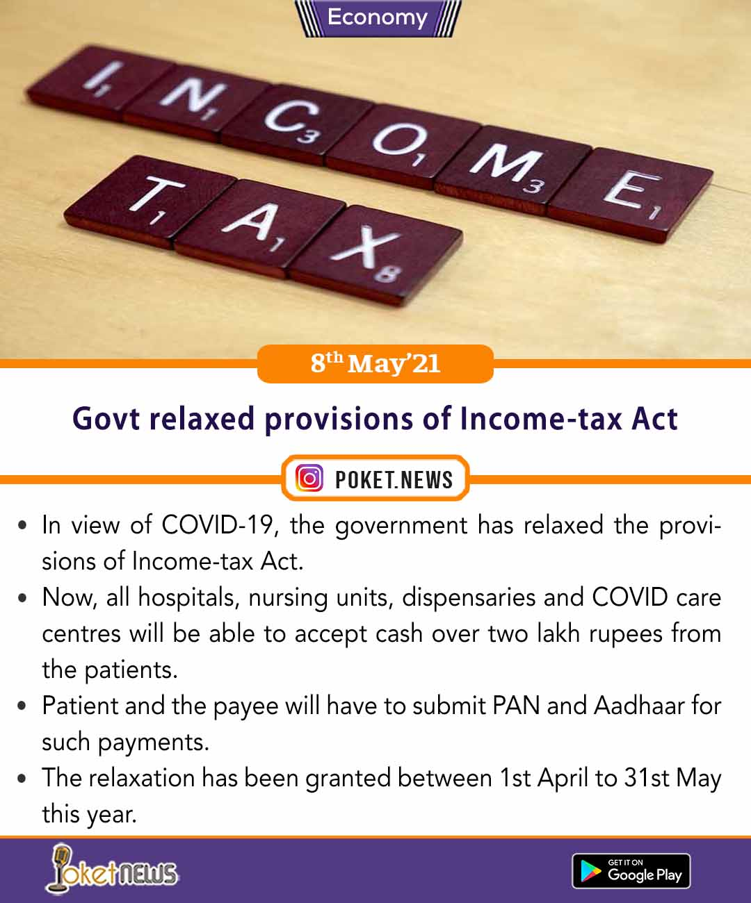 Govt relaxed provisions of Income-tax Act