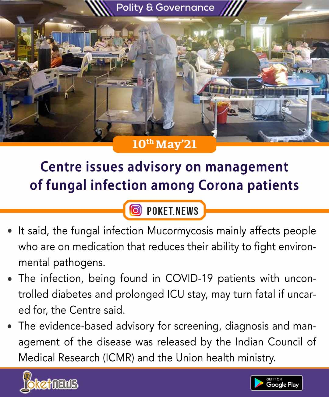 Centre issues advisory on management of fungal infection among Corona patients