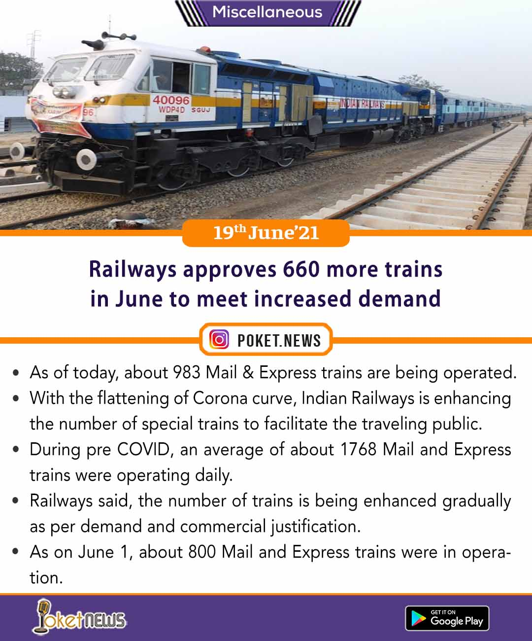 Railways approves 660 more trains in June to meet increased demand