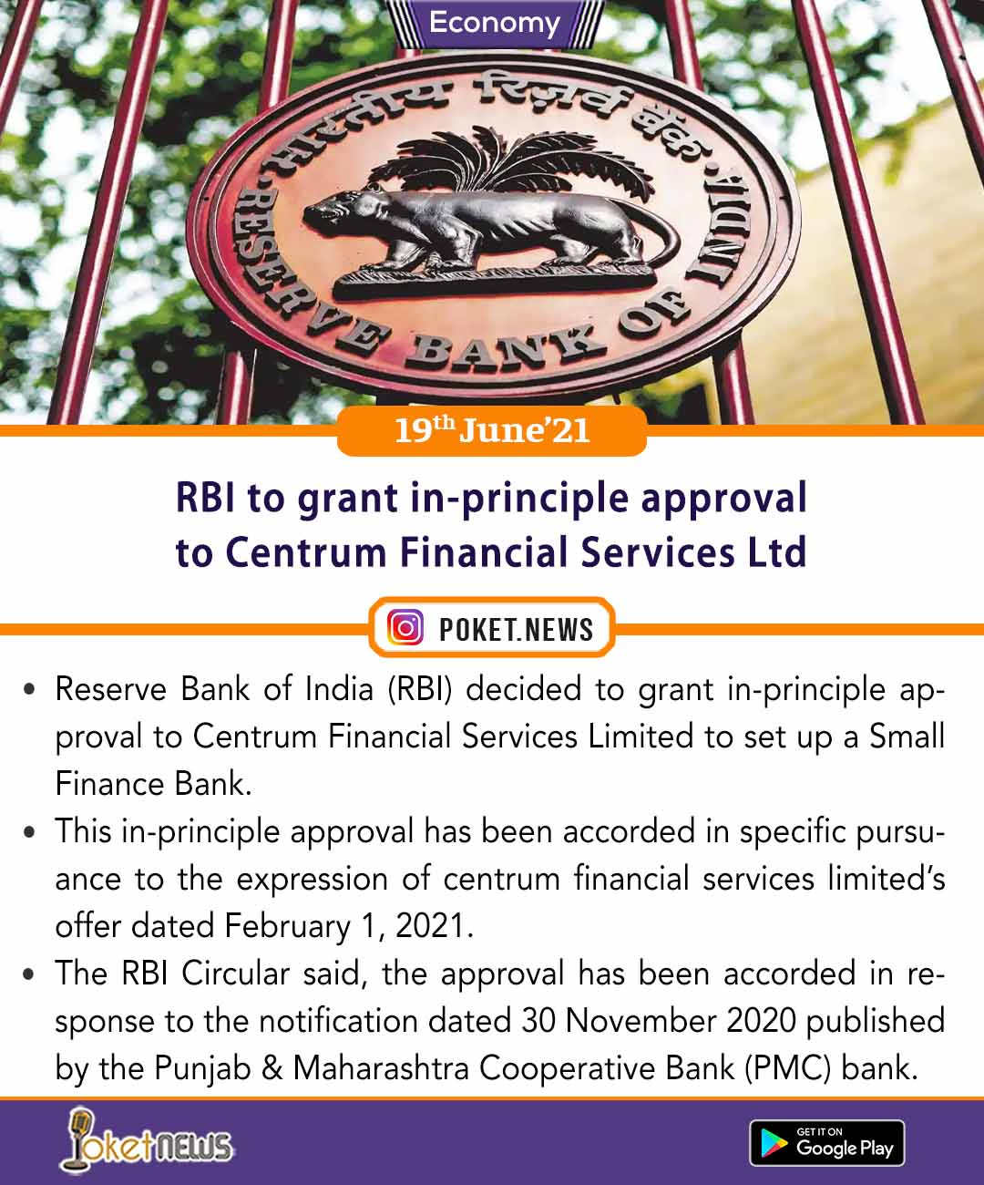 RBI to grant in-principle approval to Centrum Financial Services Ltd