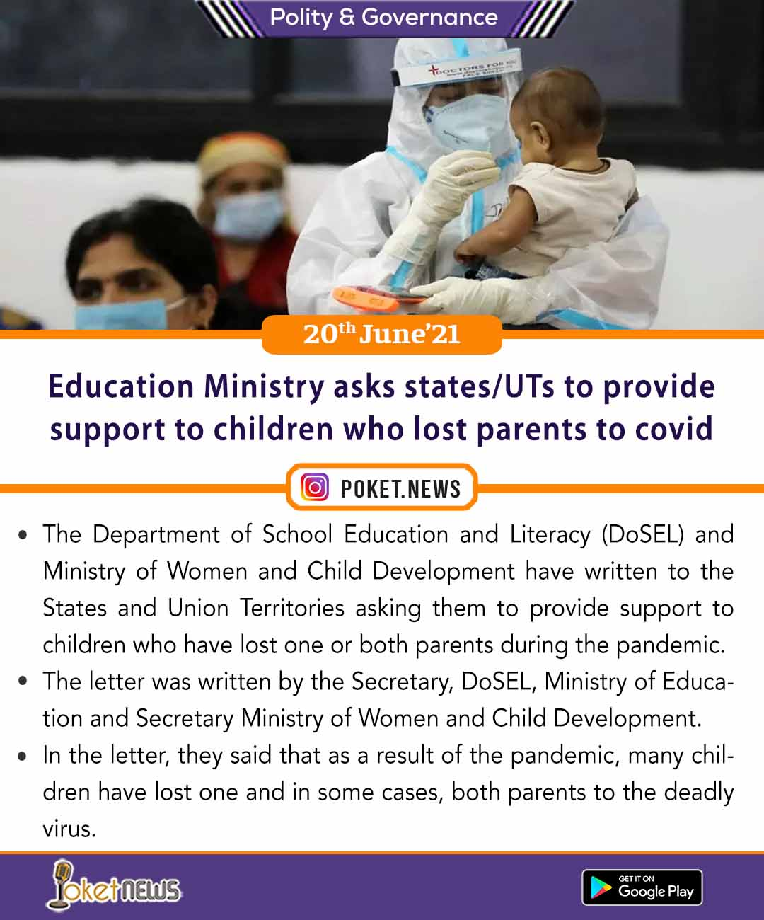 Education Ministry asks states/UTs to provide support to children who lost parents to covid