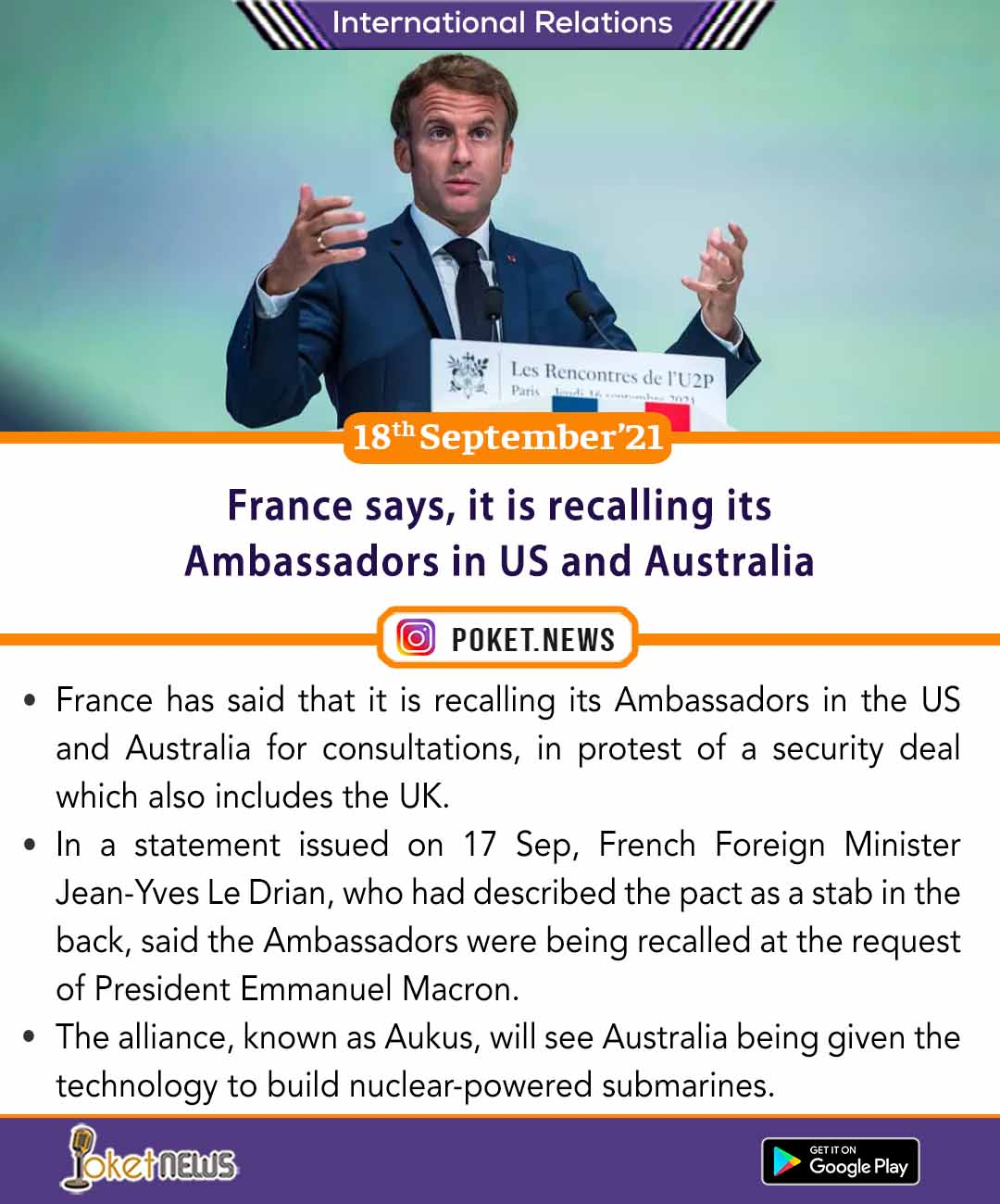 France says, it is recalling its Ambassadors in US and Australia