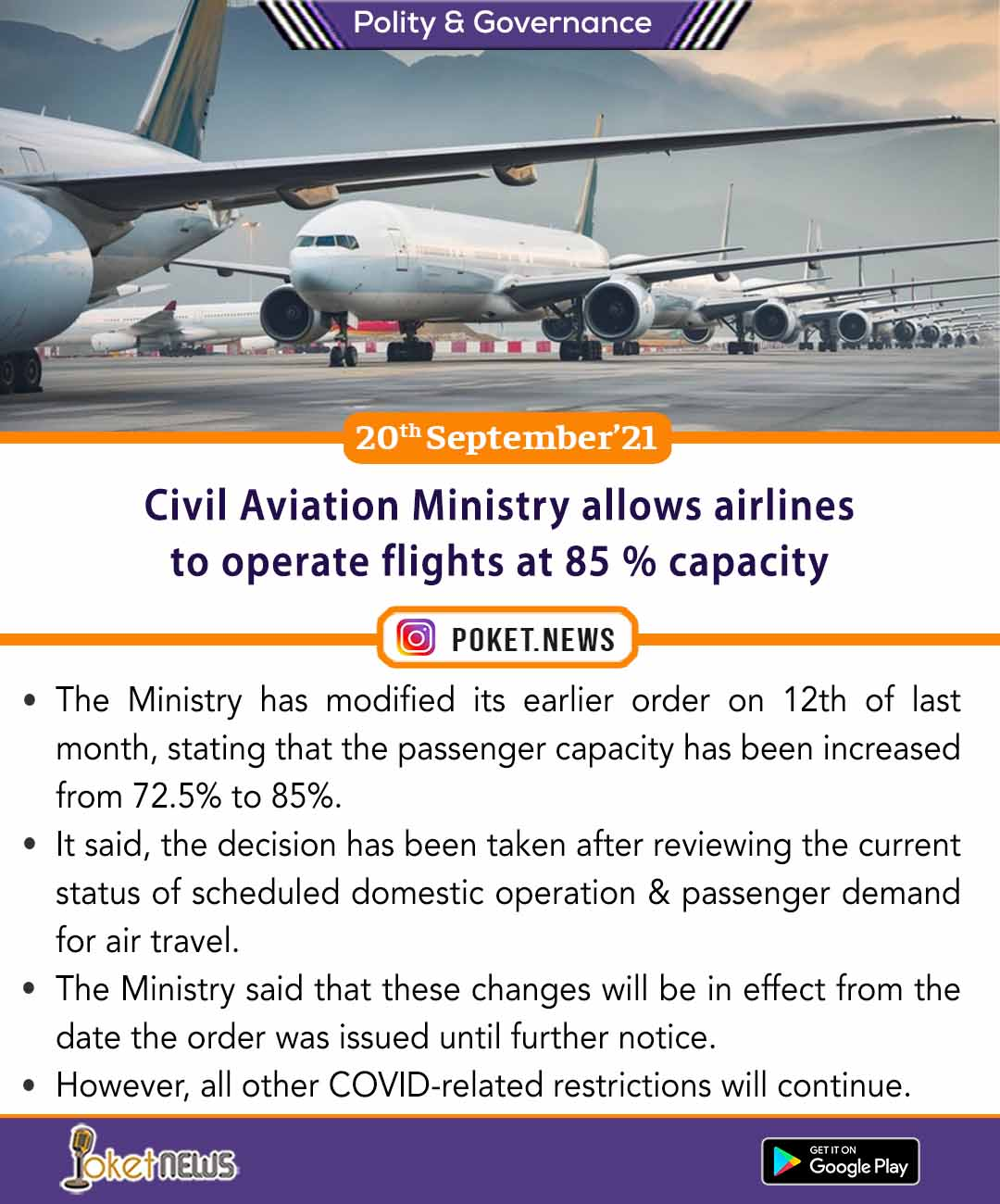 Civil Aviation Ministry allows airlines to operate flights at 85 % capacity