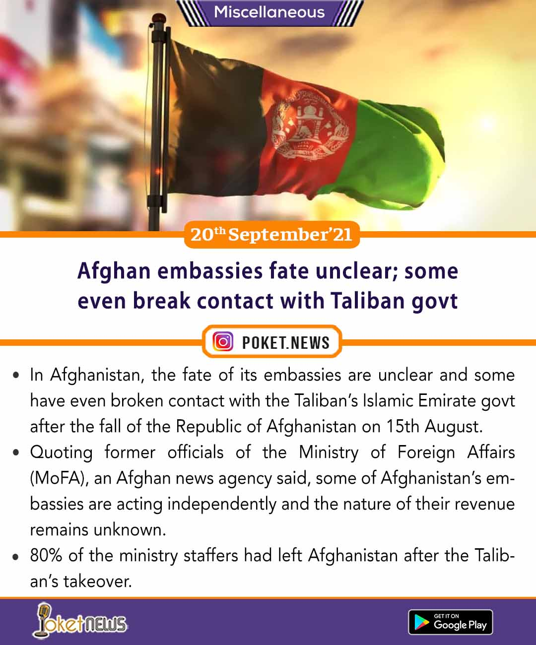 Afghan embassies fate unclear; some even break contact with Taliban govt