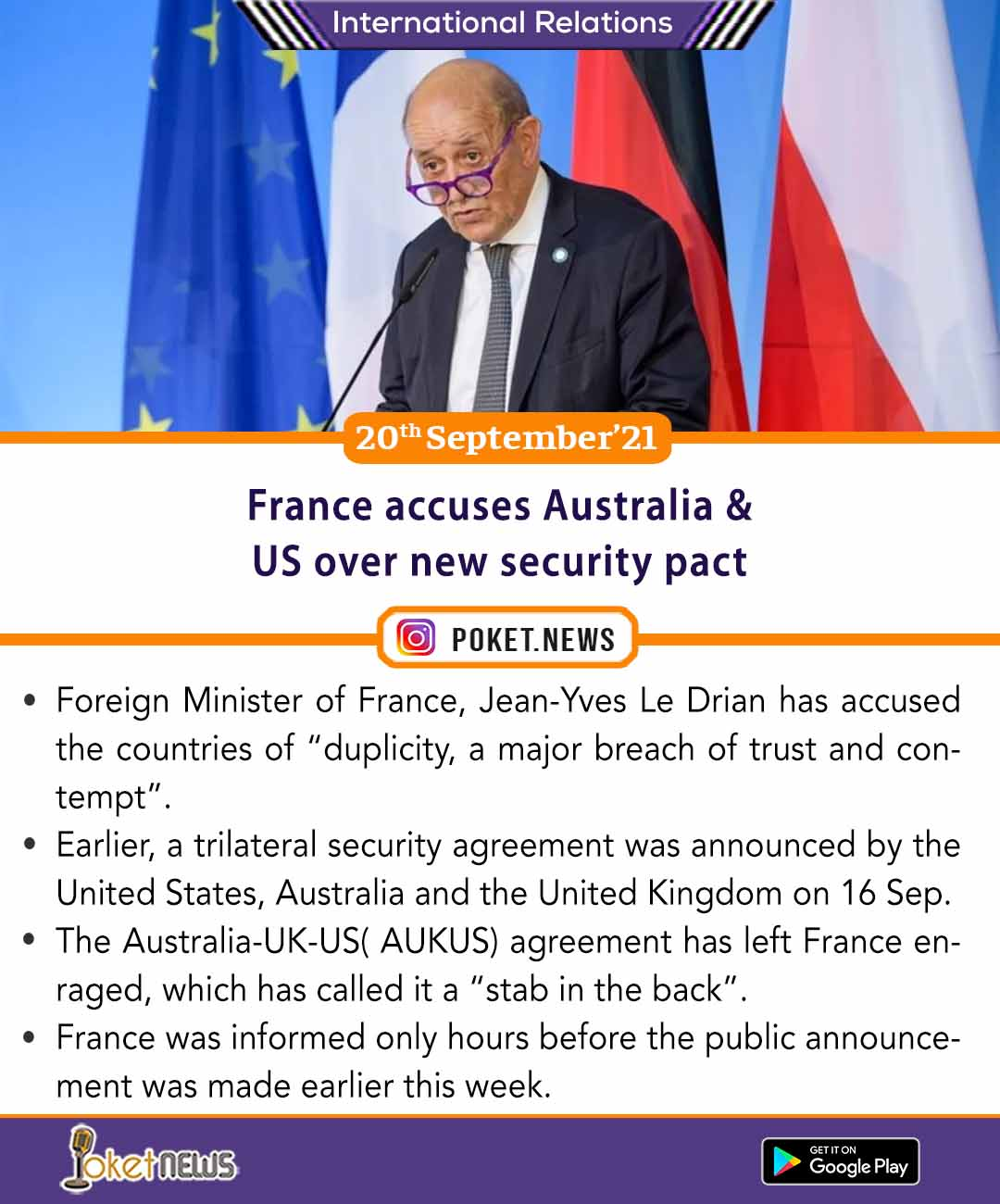 France accuses Australia & US over new security pact