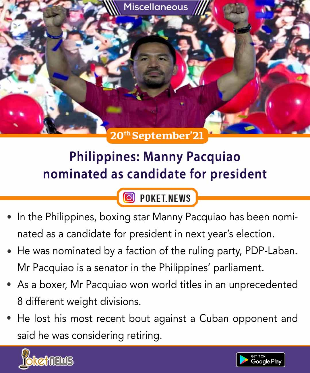 Philippines: Manny Pacquiao nominated as candidate for president
